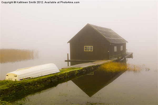 Boat house in mist Canvas print by Kathleen Smith (kbhsphoto)