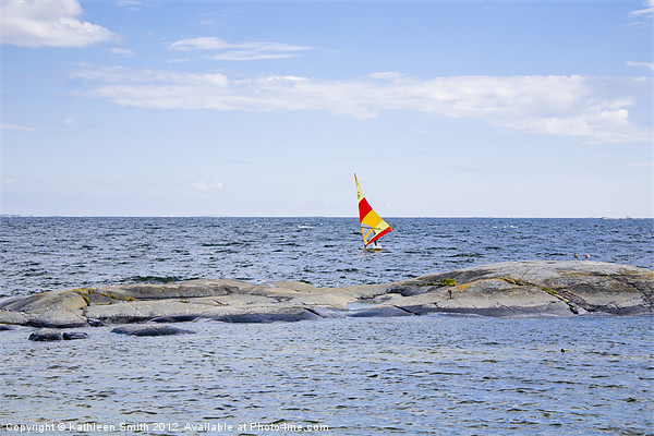 Windsurfer with bright sail Canvas print by Kathleen Smith (kbhsphoto)