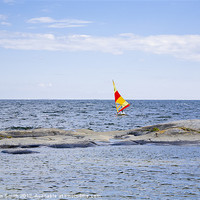 Buy canvas prints of Windsurfer with bright sail by Kathleen Smith (kbhsphoto)