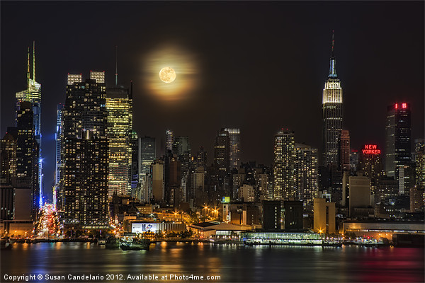 Super Moon Over NYC Framed Mounted Print by Susan Candelario