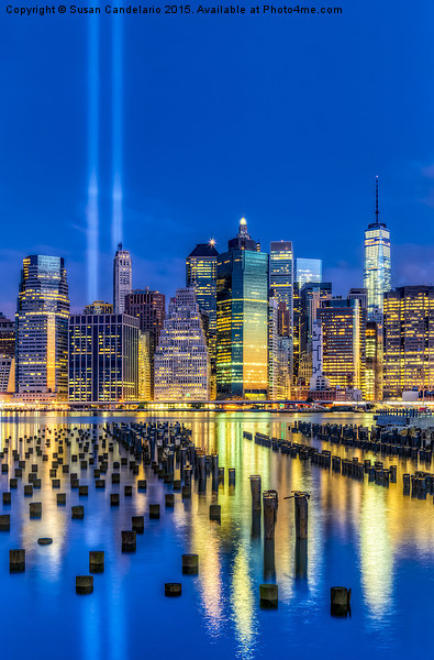 Manhattan NYC 911 Tribute Framed Mounted Print by Susan Candelario