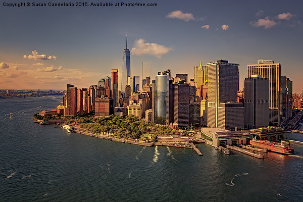 Lower Manhattan Aerial View Framed Mounted Print by Susan Candelario