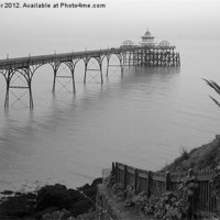 Buy canvas prints of Clevedon Pier in black/white by Paula Palmer canvas & prints