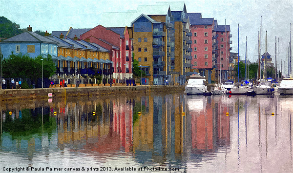Reflections at Portishead Marina Canvas Print by Paula Palmer canvas & prints