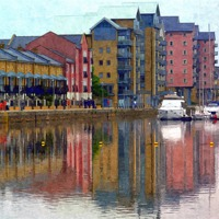 Buy canvas prints of Reflections at Portishead Marina by Paula Palmer canvas & prints