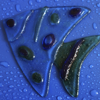 Buy canvas prints of  abstract stained glass fish by Paula Palmer canvas & prints