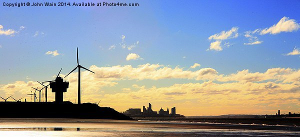 Liverpool WaterFront from Crosby Beach Canvas print by John Wain