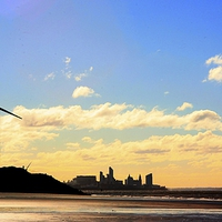 Buy canvas prints of Liverpool WaterFront from Crosby Beach by John Wain