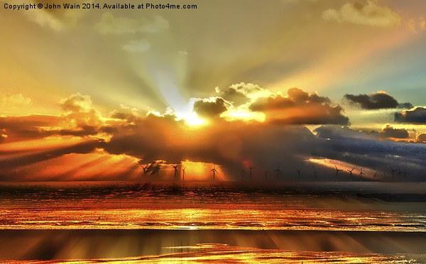Wind farm Sunset Canvas print by John Wain