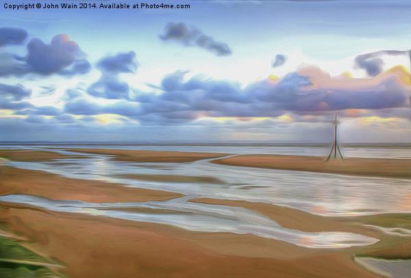 The Beach at Sunset (Digital Art) Canvas print by John Wain