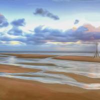 Buy canvas prints of The Beach at Sunset (Digital Art) by John Wain