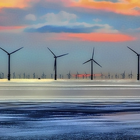 Buy canvas prints of Windmills to the Horizon  by John Wain