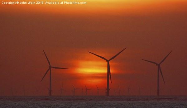 Wind Farm at Sunset Canvas print by John Wain