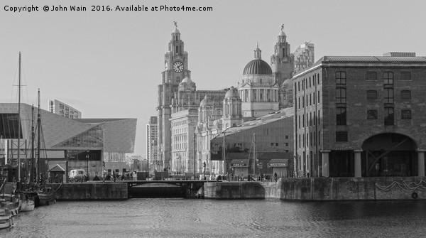 Royal Albert Dock, Liverpool (Black and White) Canvas print by John Wain