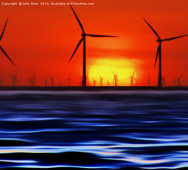 Wind Farms in the Sunset (Digital Art) Canvas print by John Wain