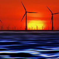 Buy canvas prints of Wind Farms in the Sunset (Digital Art) by John Wain