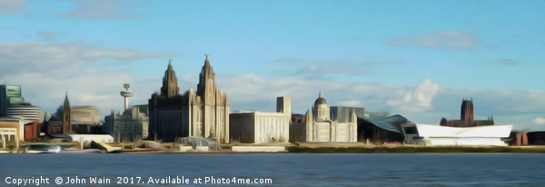 Liverpool Waterfront Skyline (Digital Art) Framed Mounted Print by John Wain