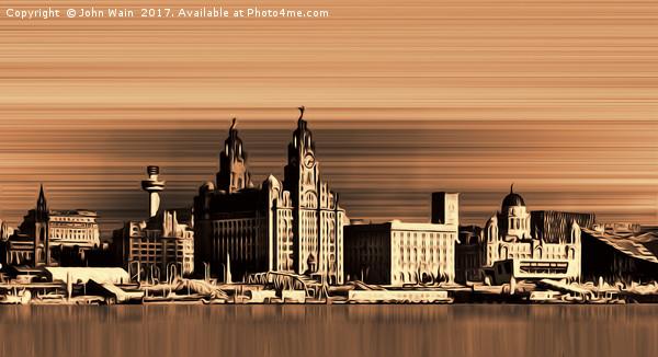 Liverpool Waterfront Skyline (Digital Art) Canvas print by John Wain