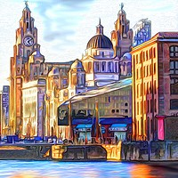 Buy canvas prints of Royal Albert Dock And the 3 Graces by John Wain