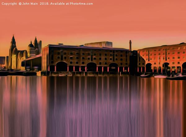 Royal Albert Dock And the 3 Graces (Digital Art) Canvas print by John Wain