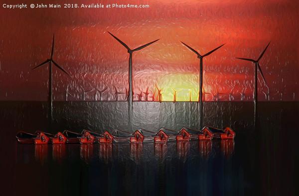 Boats at Sunset (Digital Art) Canvas print by John Wain
