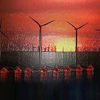 Buy canvas prints of Boats at Sunset (Digital Art) by John Wain
