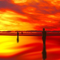 Buy canvas prints of Sunset reflection by John Wain