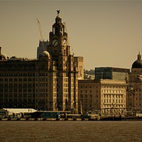 Buy canvas prints of Liverpool Waterfront Skyline by John Wain