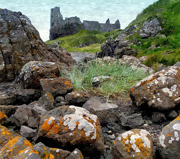 dunure castle with rocks! Canvas print by dale rys (LP)