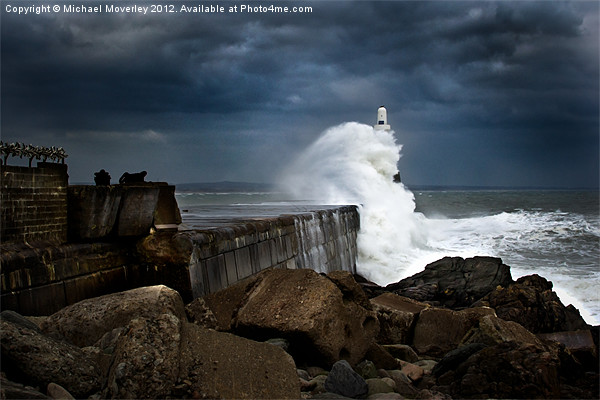 Storm hits Aberdeen Breakwater Canvas print by Michael Moverley