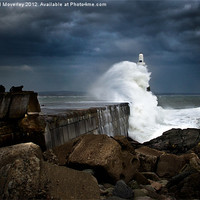 Buy canvas prints of Storm hits Aberdeen Breakwater by Michael Moverley