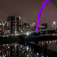 Buy canvas prints of Squinty Bridge, Glasgow at Night by Michael Moverley