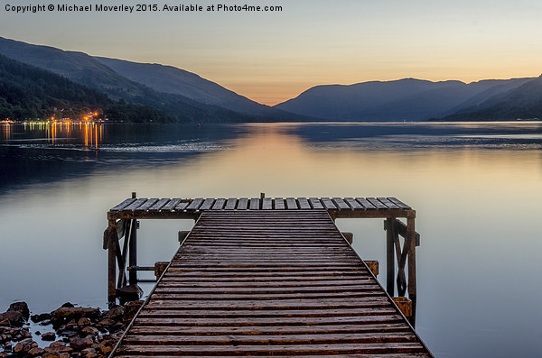 Jetty at St Fillans, Loch Earn Framed Mounted Print by Michael Moverley