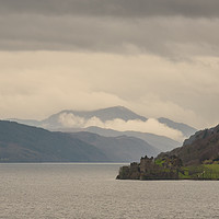 Buy canvas prints of Urquhart Castle in the Mist by Michael Moverley