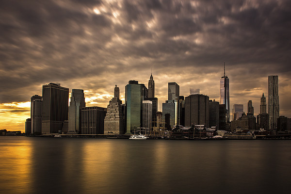 Manhattan Sunset Framed Mounted Print by Jed Pearson