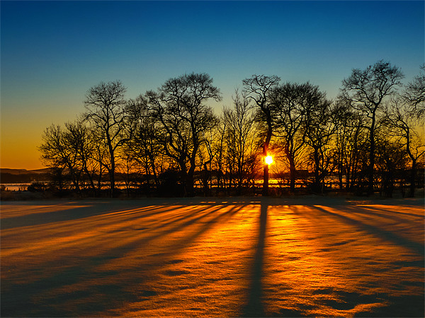 Sunset on snow Kinross Framed Mounted Print by Adrian Maricic