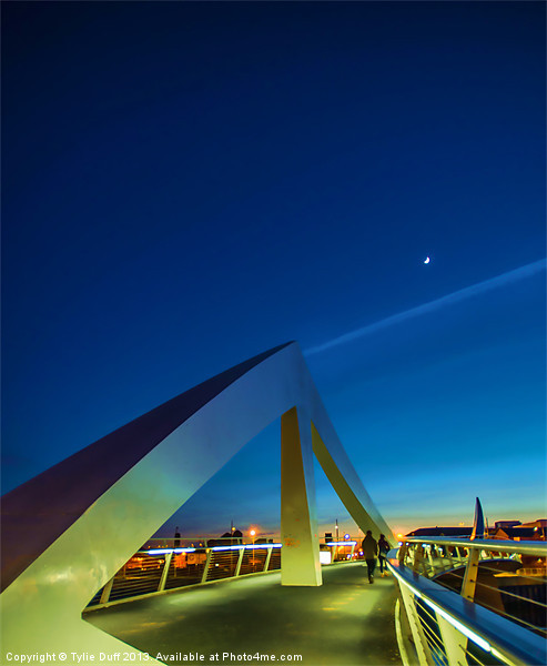 The Squiggly Bridge over the Clyde by Moonlight Canvas print by Scotland In Pictures  by Tylie Duff