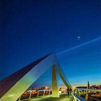 Buy canvas prints of The Squiggly Bridge over the Clyde by Moonlight by Scotland In Pictures  by Tylie Duff