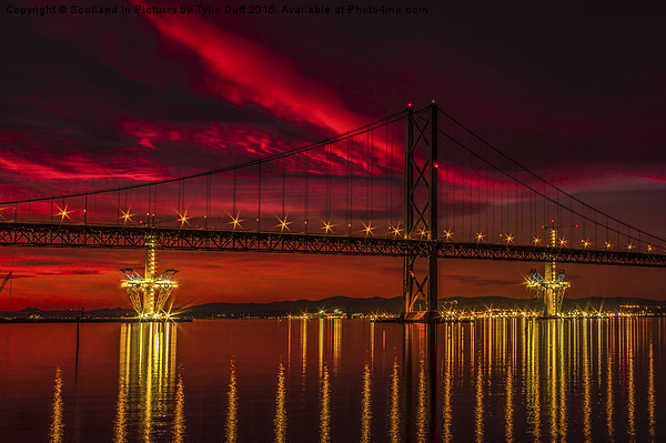 Fiery Sunset over Forth Road Bridge Canvas print by Scotland In Pictures by Tylie Duff