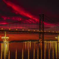 Buy canvas prints of  Fiery Sunset over Forth Road Bridge by Scotland In Pictures by Tylie Duff