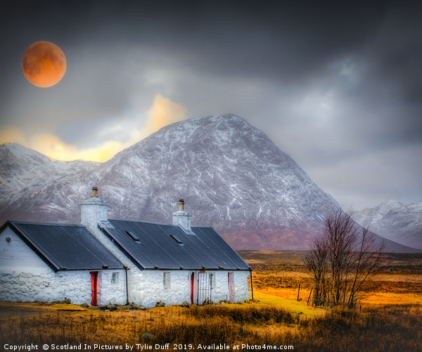 Blood Moon Over Black Rock Cottage Glen Coe Canvas print by Scotland In Pictures by Tylie Duff