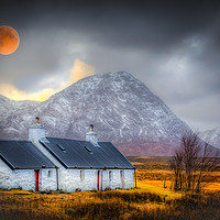 Buy canvas prints of Blood Moon Over Black Rock Cottage Glen Coe by Scotland In Pictures by Tylie Duff