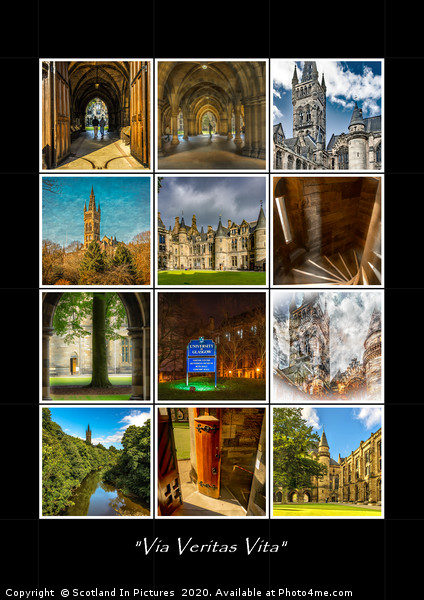 Glasgow University Collage Canvas print by Scotland In Pictures