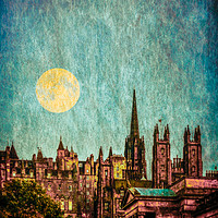 Buy canvas prints of Moonlight Over Edinburgh Old Town by Scotland In Pictures