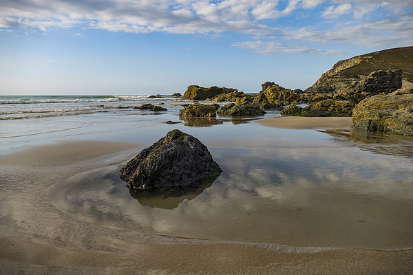 Rock, Beach and Sky, Trevaunance Cove, St Agnes, C Canvas print by Brian Pierce