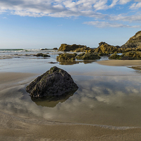Buy canvas prints of Rock, Beach and Sky, Trevaunance Cove, St Agnes, C by Brian Pierce