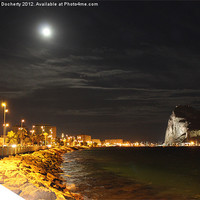 Buy canvas prints of Full Moon Over Gibraltar by Paul Docherty