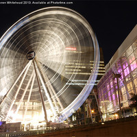 Buy canvas prints of Nightime Manchester Big Wheel by Darren Whitehead