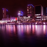 Buy canvas prints of Reflections of Media City by Darren Whitehead