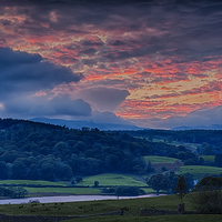 Buy canvas prints of Esthwaite Water sunset by Graham Moore